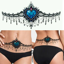 Temporary Disposable Gothic Tattoo Stickers Blue Chest Back Waterproof Tattoos