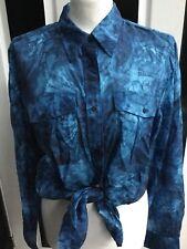 Ralph Lauren Long Sleeve Silk Mix Abstract Urtenay Blouse Shirt Sz XL 16