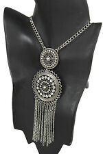 Women Fashion Necklace Silver Metal Chain Fringes Ethnic Charm Bling Sun Pendant