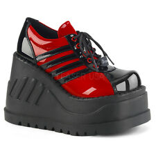 Demonia STOMP-08 Women's Black Red Patent Wedge Platform Lace-Up Sneaker Shoes