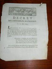 292-REVOLUTION 1791 fuite de Varennes: Décret de dispense d'acceptation du Roi
