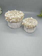 2 Beaded Handcrafted Small Nesting Baskets