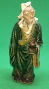 "Mudman & Bottle White Beard Green Robes Antique 5"" CHINA Stamp Pottery Figurine"