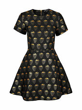 MARKUS LUPFER Strawberry Print Jacquard Fit and Flare Black Dress skater BNWT