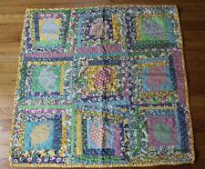 """Vtg Handmade Teapot Small 32"""" Square Log Cabin Quilt Crib Baby Blanket"""
