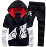 Black  Men Sweater Casual Tracksuit Sport Suit Jogging Athletic Jacket+Pants
