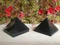 Set of 5 Black Agate Crystal Healing Pyramids Black Pyramids Vastu Pyramids