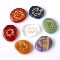 7pcs Engraved Crystal Reiki Energy Chakra Stones Palm Stones Healing Spiritual