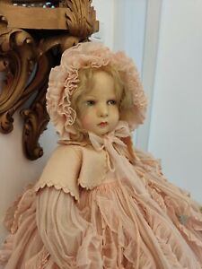Exquisite Rare Antique French Raynal Bebe Cloth Doll Not Lenci Superb Dress