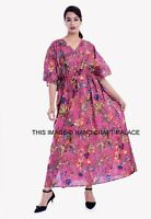 Femme Rose Oiseau Imprimé Floral Robe Maxi Longue Caftan Hauts Chemise US
