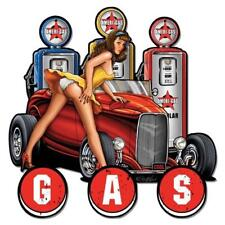 HOT ROD PIN UP GIRL GAS PUMP Metal Sign Man Cave Garage Body Shop Cabin Shed