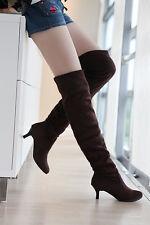 Women Kitten Mid Heels Thigh-High Stretch Comfort Warm Boots UK ALL Sz B343