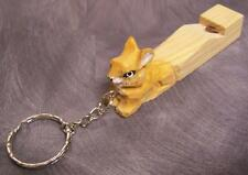 Carved Solid Wood Key Ring Chain whistle Rabbit NEW