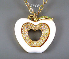 Debenham Bright Kitsch Gold Plt Apple Wag Pendant Necklace w/ Swarovski Crystals