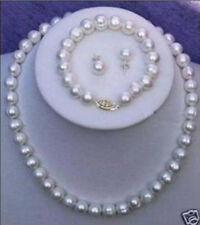 10-11mm White Freshwater Cultured Pearl Necklace Bracelet Earring Set