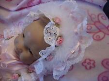 DREAM 0-3 MONATE BABY PUPPEN ROSA ROSEN RÜSCHEN MÜTZE OR 50.8-61cm REBORN Puppen