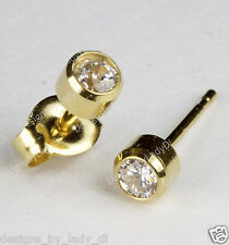 Studex Gold Earrings Tiny Tips Hypoallergenic 4mm Bezel Set 3mm Clear April CZ
