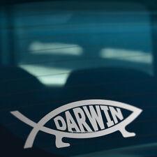 DARWIN FISH Evolve Funny Car,Van,Window,Laptop Silver Vinyl Decal Sticker
