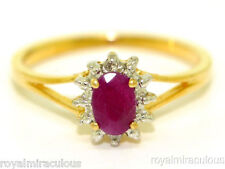 Ruby & Diamond July Birthstone Ring Sterling Silver or Gold Plated Silver