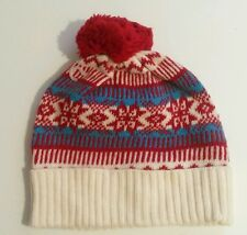 New Abercrombie & Fitch Beanie Winter Knit Angora Wool Womens Red Cream Aqua Hat