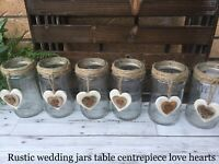 92e5f606dcce9 Rustic Wedding Glass Jars Hessian Table Centrepiece Vintage Shabby Chic  Heart X6