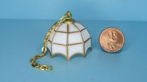Dollhouse Miniature Tiffany Style White & Gold Hanging Lamp Non Working IM66445