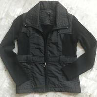 MARISOL Black Knit /nylon Zip Up Sweater Jacket   Sz large ITALY 💫💫💫