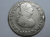 1807 MEXICO 1/2 REAL CHARLES IV SPANISH COLONIAL SILVER SPAIN