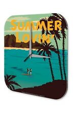 Fun Wall Clock Vintage Decor  Surfing Couple beach palm trees Summer Lovin Acryl