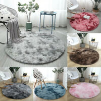 Round Shaggy Area Rug Tie-Dye Carpet Fluffy Floor Mat Anti-Skid Rug Bedroom Home