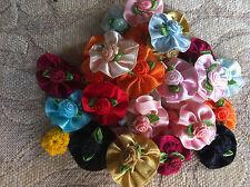 50 pcs colorful color flower satin ribbon.