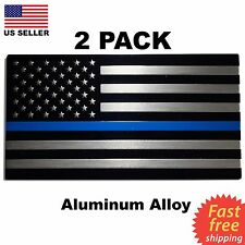 2 PACK ALUMINUM Police Officer Emblem Thin Blue Line American Flag Decal Sticker