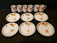 Nippon - Hand Painted Floral Poppy Demitasse Cups and Saucers