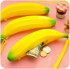 Novelty Cute Silicone Banana Shape Design Coin Purse Keyring Bag Wallet Pouch