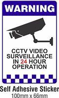 Warning CCTV Security Surveillance Camera Decal Sticker Sign 66mmx100mm
