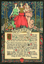 BERTON BRALEY Vtg c1920s Art Nouveau Woodland Nymphs Art Motto Chromolitho GIFTS