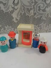 Vintage Fisher Price Little People Phone Booth & 4 Worker People