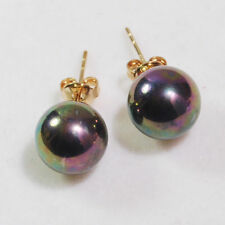New Yellow Gold Plated 10mm Black Rainbow South Sea Shell Pearl Stud Earrings