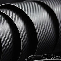 30CM x 1.51M 4D Gloss Black Carbon Fibre Fiber Vinyl Car Wrap Air release Film
