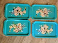 Lot Of 4 Vintage Turquoise With Flowers Metal Lap TV Trays