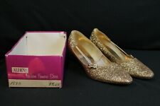 Vtg 1960s Glam Womens Gold Glitter Pumps Kitten Heel 9 1/2 Ee Extra Wide Shoes