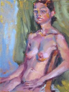 Seated Female Nude (Taryn)-original art oil painting by TX artist Melissa Grimes
