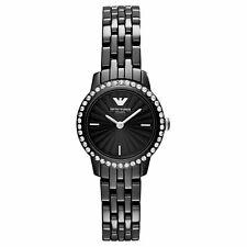 Emporio Armani Ceramic Ladies Watch AR1480 Daimond Black Dial Strap