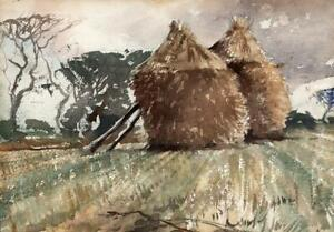 HAY STACKS SARK GUERNSEY CHANNEL ISLANDS Watercolour Painting 20TH CENTURY