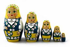 Matryoshka Russian Nesting Doll Wooden Babushka Swedish Folk Clothing 5 Pc