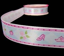 4 Yds Disney Princess Cinderella Sleeping Beauty Snow White Roses Satin Ribbon 7