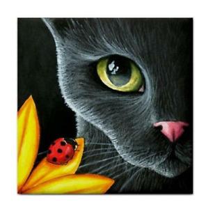 Large Ceramic Tile 6x6 inches Printed in USA black Cat 510 Ladybug Art L.Dumas