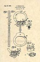 Official Handcuffs 1931 US Patent Art Print - Vintage Antique -Police Cop Law131