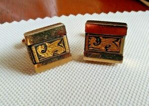 VINTAGE 1960's SWANK Gilt DRAGON Mens CUFFLINKS