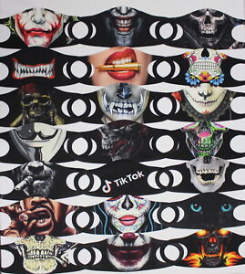5x Motiv Masken Clowns Joker Skull Día de los Muertos Smile Stoffmaske waschbar1